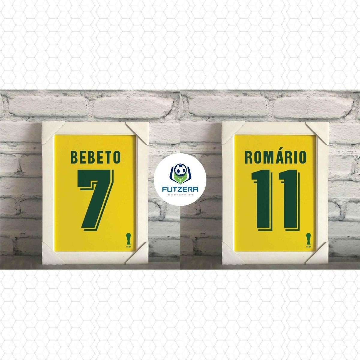 8342df1062495 kit camisa seleção brasileira 1994 romario bebeto 2 quadros. Carregando zoom .