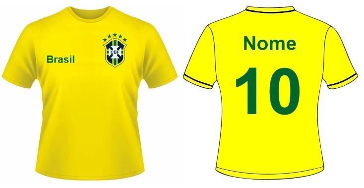 7d135fff6a725 Kit Camisa Seleção Brasileira Família 5 Peças Personalizadas - R ...