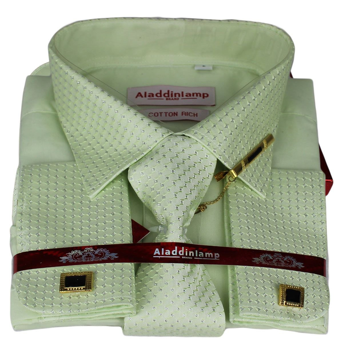 365831ec5c76c Kit Camisa Social Manga Longa Verde Água+gravata+abotoadura - R  109 ...