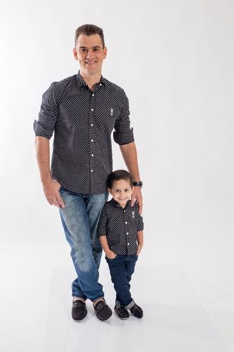 kit camisa social tal pai tal filho jet li