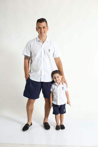 kit camisas social tal pai tal filho manga curta branca