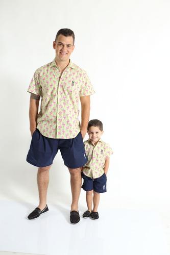 kit camisas social tal pai tal filho manga curta flamingos