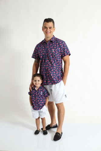 kit camisas social tal pai tal filho manga curta melancia