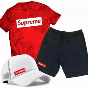 e4540ab9bb3 Kit Camiseta + Bermuda + Boné Supreme Jordan Basquete Top !