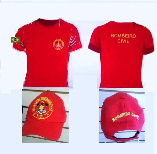 kit camiseta bombeiro profissional civil + kit brigadista