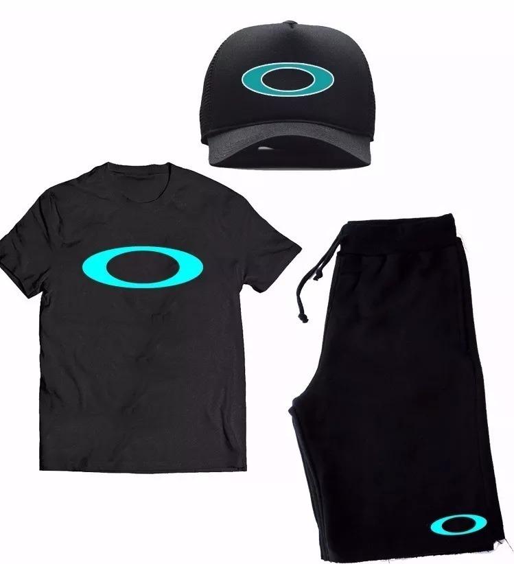 6e3213b42cf07 Kit Camiseta Boné Bermuda 3 Peças Oakley Camisa - R  119