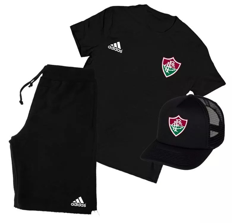 bf62d7c2b1 Kit Camiseta + Boné + Bermuda Fluminense Futebol Conjunto! - R  128 ...