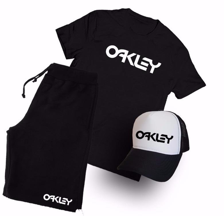 Kit Camiseta + Boné + Bermuda Oakley Marca Famosa Conjunto! - R  130 ... 85545cc8f96
