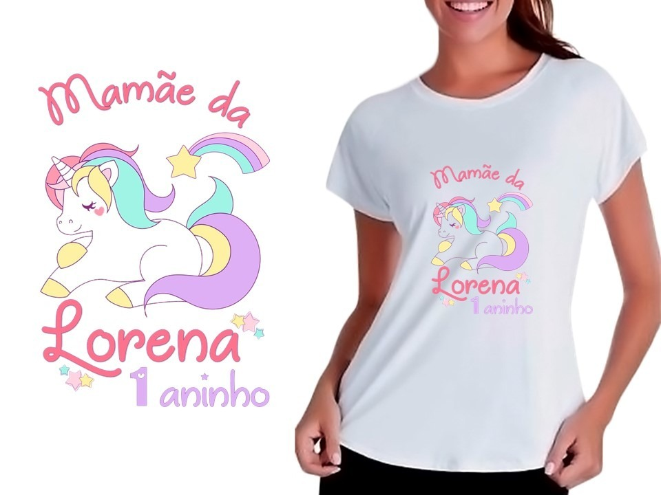 a7e7cbaa9698c kit camiseta camisa personalizada festa unicórnio arco-íris. Carregando  zoom.