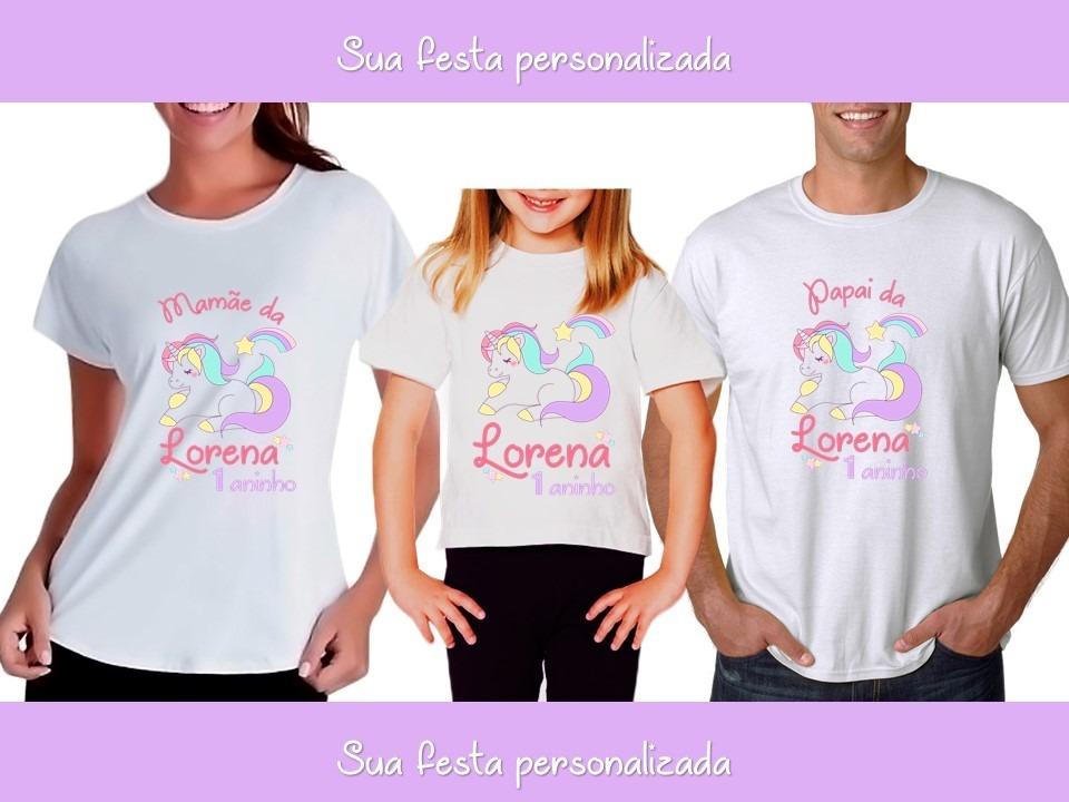 b1b28fb6ce7d4 kit camiseta camisa personalizada festa unicórnio arco-íris. Carregando  zoom.