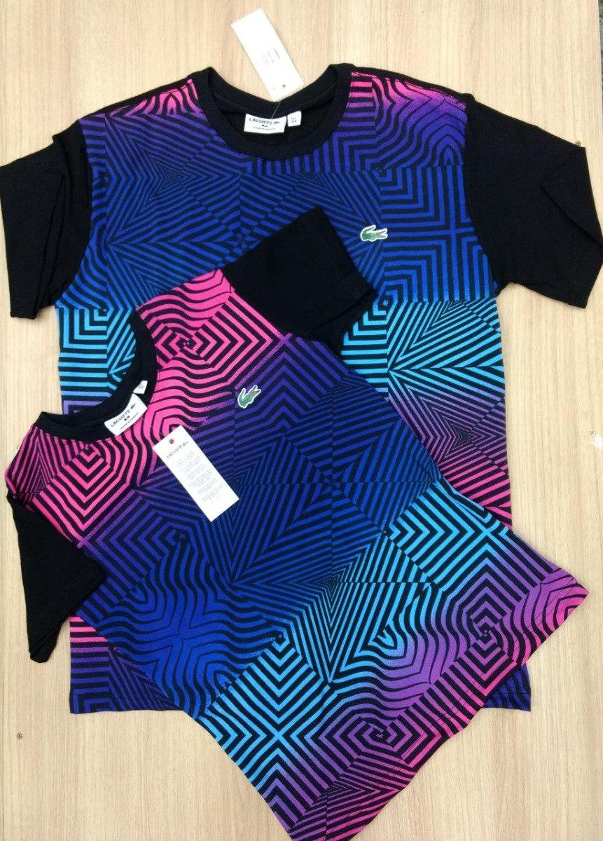 dd0e63eaea533 Kit Camiseta Lacoste 3d Arco Íris Masculina E Feminina - R  119,99 ...