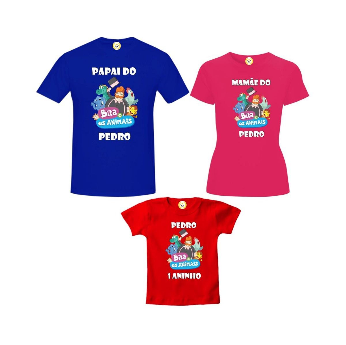 e4e48cb5e8 Kit Camiseta Mundo Bita E Os Animais Aniversário 3 Peças - R  159
