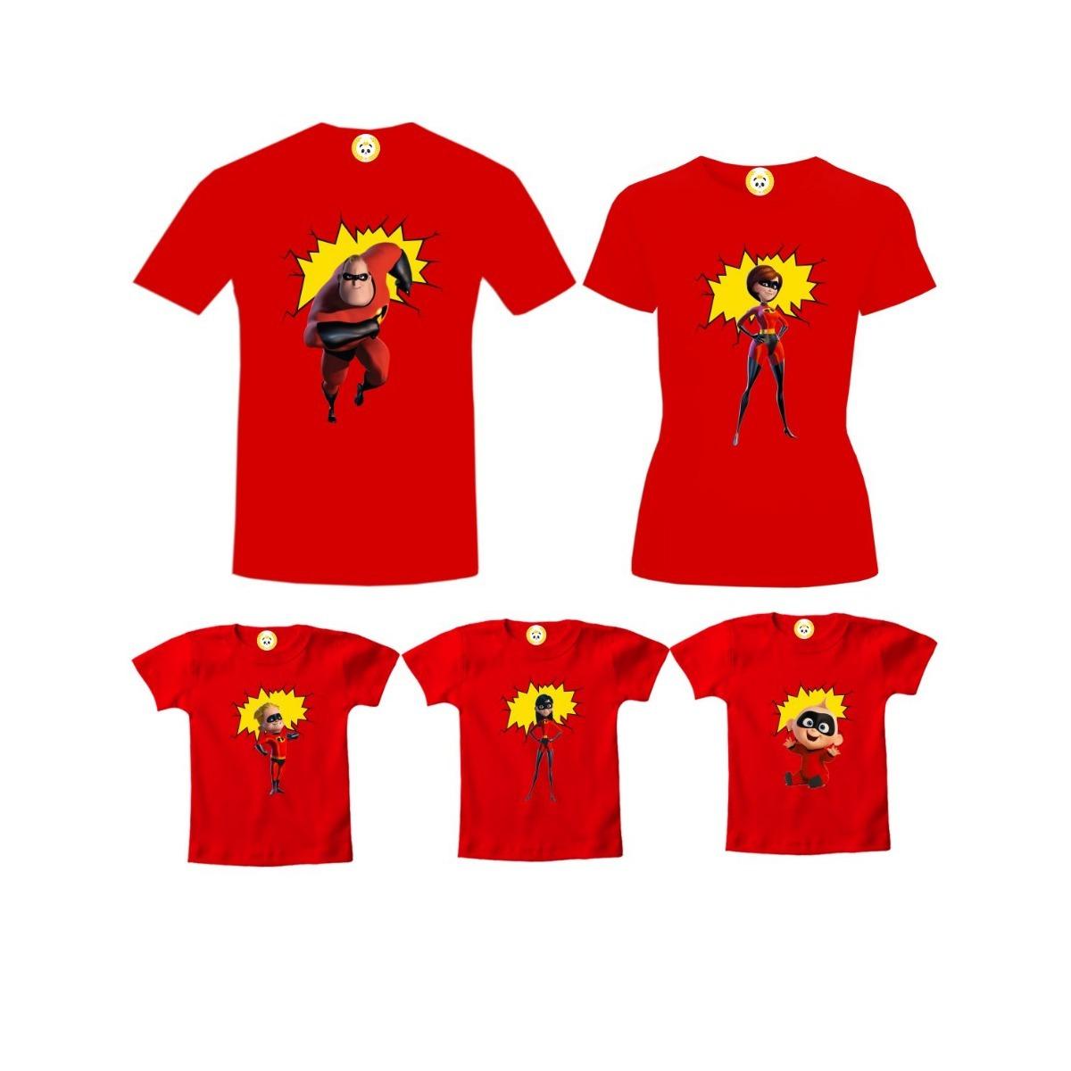 42421984ca Kit Camiseta Os Incríveis Personagens Família Algodão 5 Pçs - R  259 ...