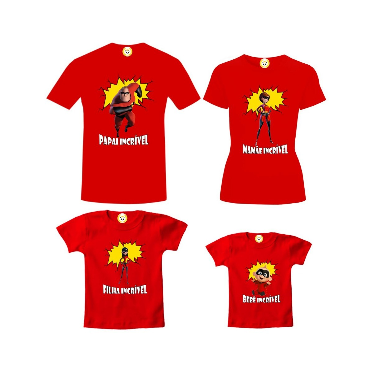 6b8f252c75 Kit Camiseta Os Incríveis Personagens Filha Algodão 4 Peças - R  199 ...