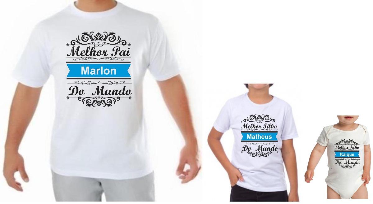 kit camiseta personalizada dia dos pais presente 3 unidades. Carregando  zoom. bd6aace5edefe