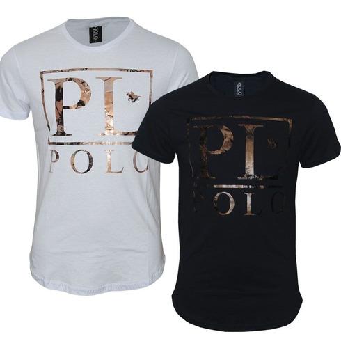 kit camiseta swag masculina slim estampa foil