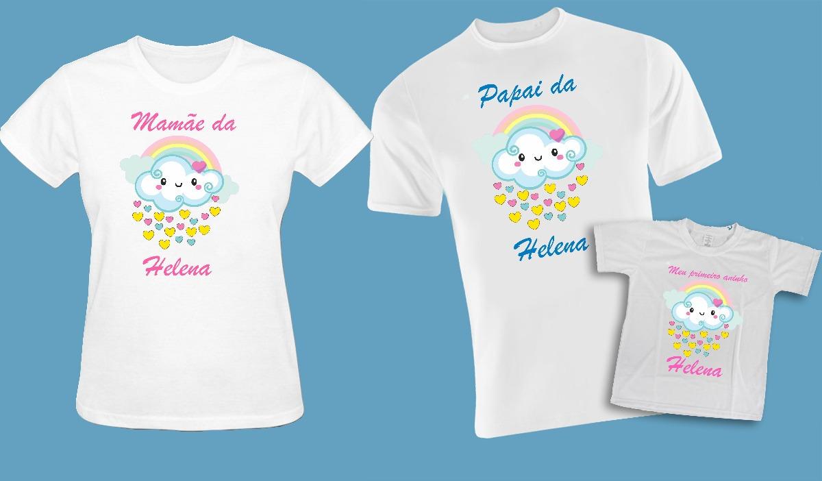0210aba1391d63 Kit Camisetas Mãe,pai E Filha Chuva De Amor.