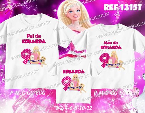 kit camisetas personalizadas aniversario barbie