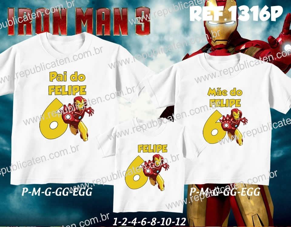 Kit Camisetas Personalizadas Aniversario Iron Man - Herói - R  89 9b32af1a91334