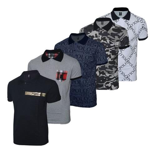kit camisetas polo rg518 estampadas sortidas