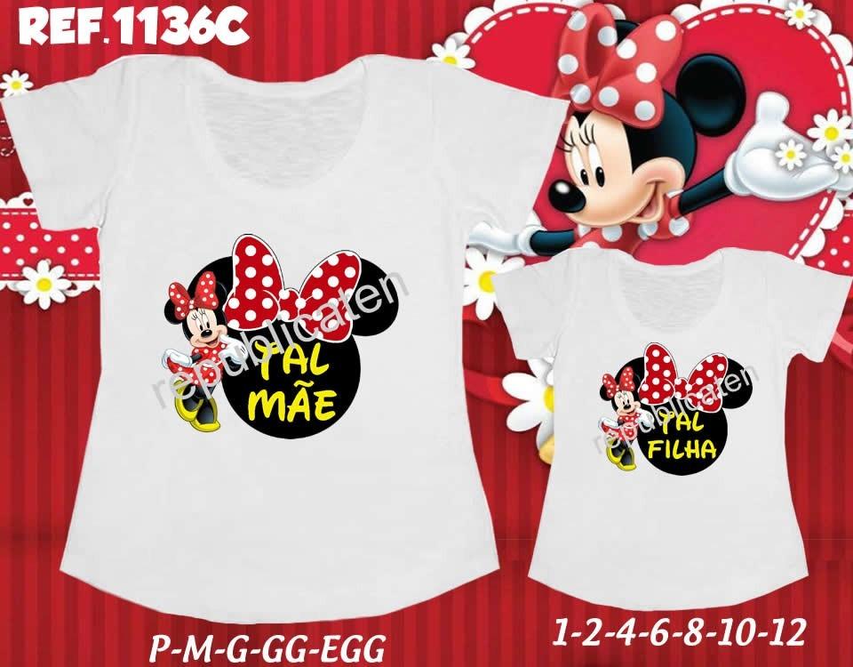 Kit Camisetas T-shirt Tal Mãe Tal Filha Minnie Minie Disney - R  59 ... 0d4f6a97966ca