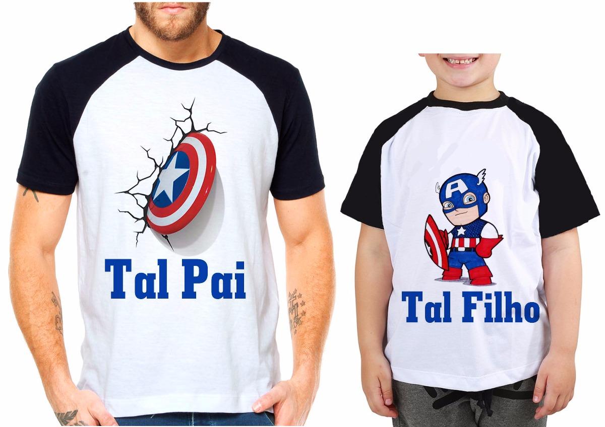 0ee2f4987d7d39 Kit Camisetas Tal Pai Tal Filho Capitão América Herois Vinga