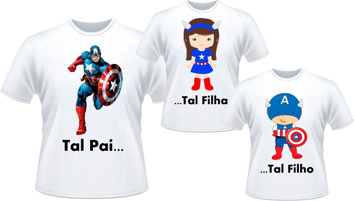 39d3f9283a982 kit camisetas tal pai tal filho tal filha capitão américa. Carregando zoom.