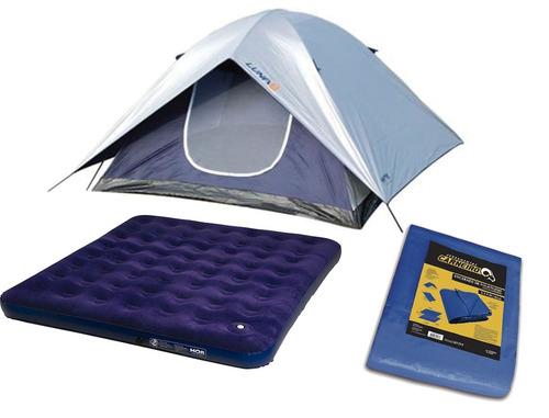 kit camping barraca luna 4 pessoas + lona 4x4 +colchão casal