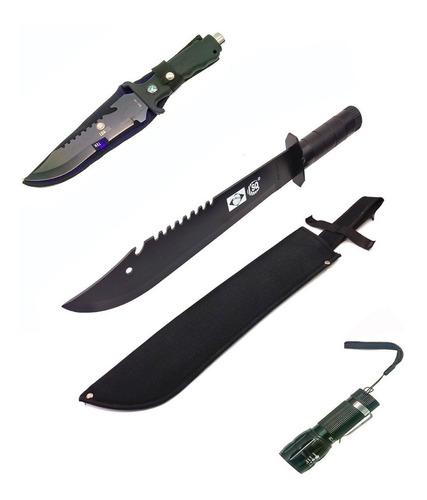 kit camping faca esporte + facão militar + mini lanterna led