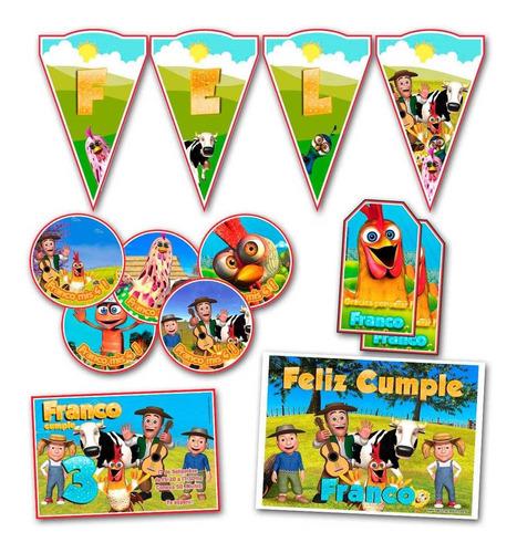 kit candy bar canciones de la granja stickers invitaciones
