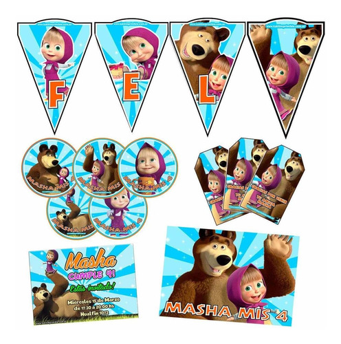 kit candy bar masha y el oso stickers para candy bar