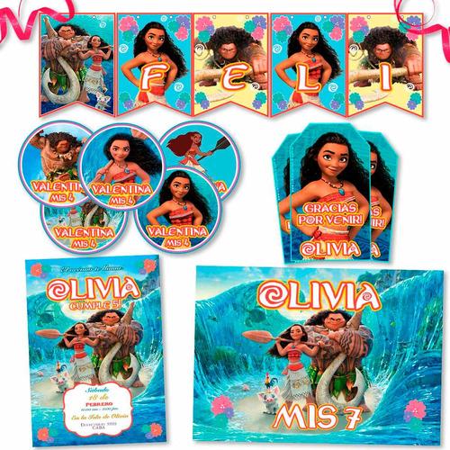 kit candy bar moana impreso invitaciones, stickers