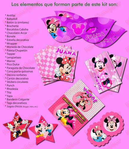 kit candybar imprimible minnie mouse - no edites más!!