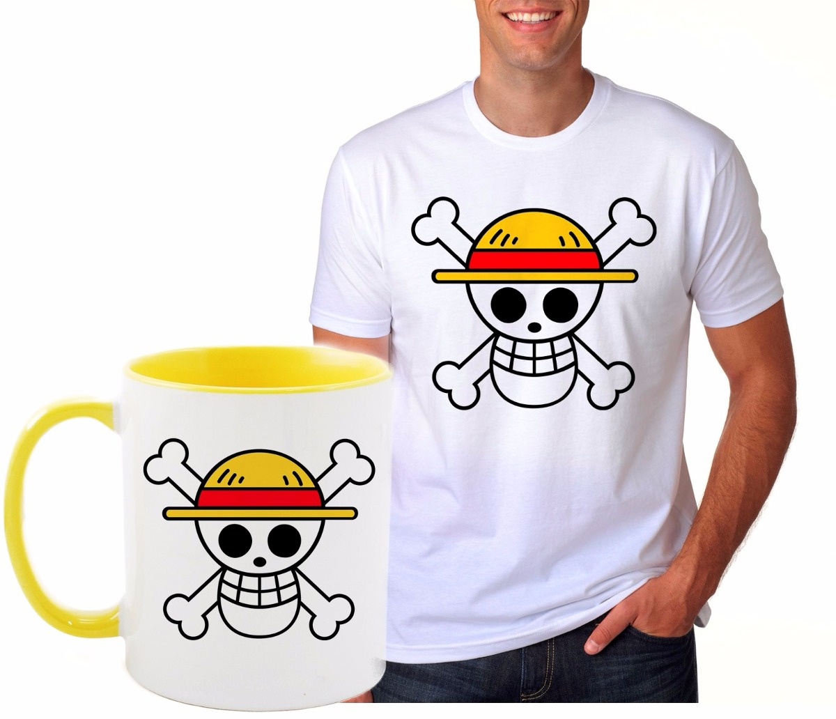 kit caneca e camiseta one piece monkey d. luffy chapéu palha. Carregando  zoom. 1cbf81c2816
