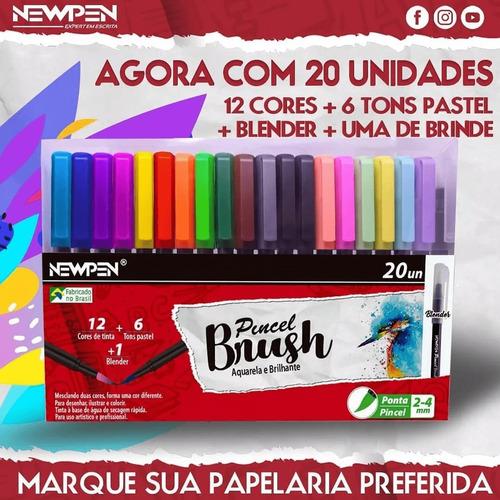kit caneta brush newpen 20 unidades com blender (lançamento