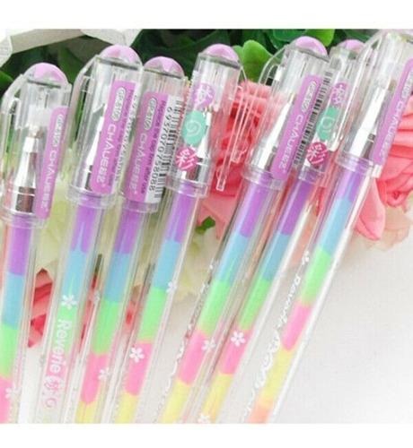 kit caneta gel arco íris rainbow multi colorida kawaii 5un