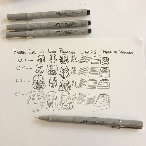 kit caneta nankin faber castell ecco pigment 0,3 - 0,5 & 0,7