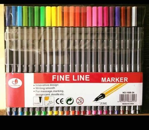 kit caneta ponta fina 0.4 tipo stabilo 24 cores