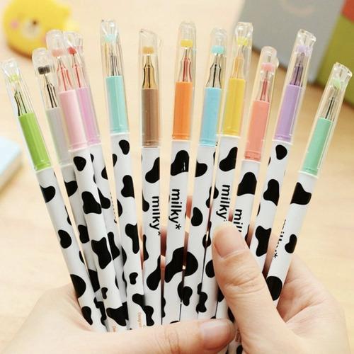 kit canetas gel milky ponta fina sortidas coloridas kawaii