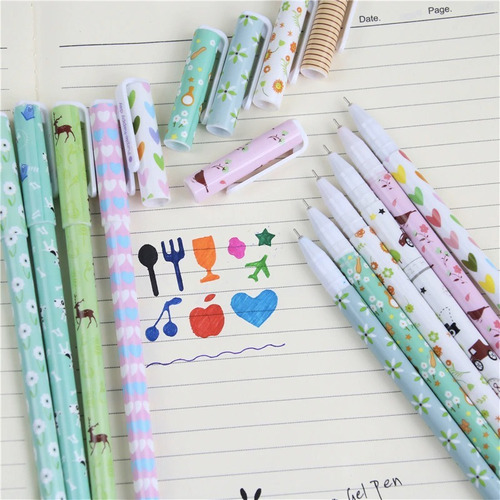 kit canetas gel ponta fina 0.38 sortidas colorida kawaii 10u