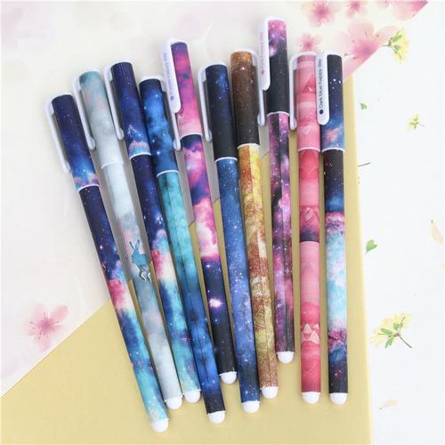 kit canetas gel sortidas coloridas kawaii espacial escolar