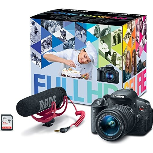 kit canon eos rebel t5i creador video w / lente, rode...