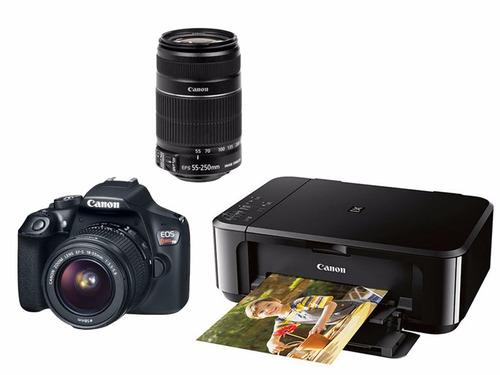 kit canon t6 ef-s 18-55mm + lente ef55-250 + pimxa mg3610
