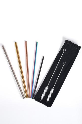 kit canudos de aço inox coloridos com limpadores - 7 peças.