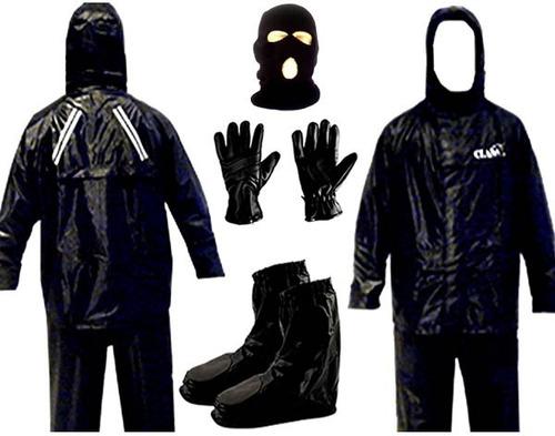 kit capa chuva calça  luva  galocha  touca motoqueiro moto