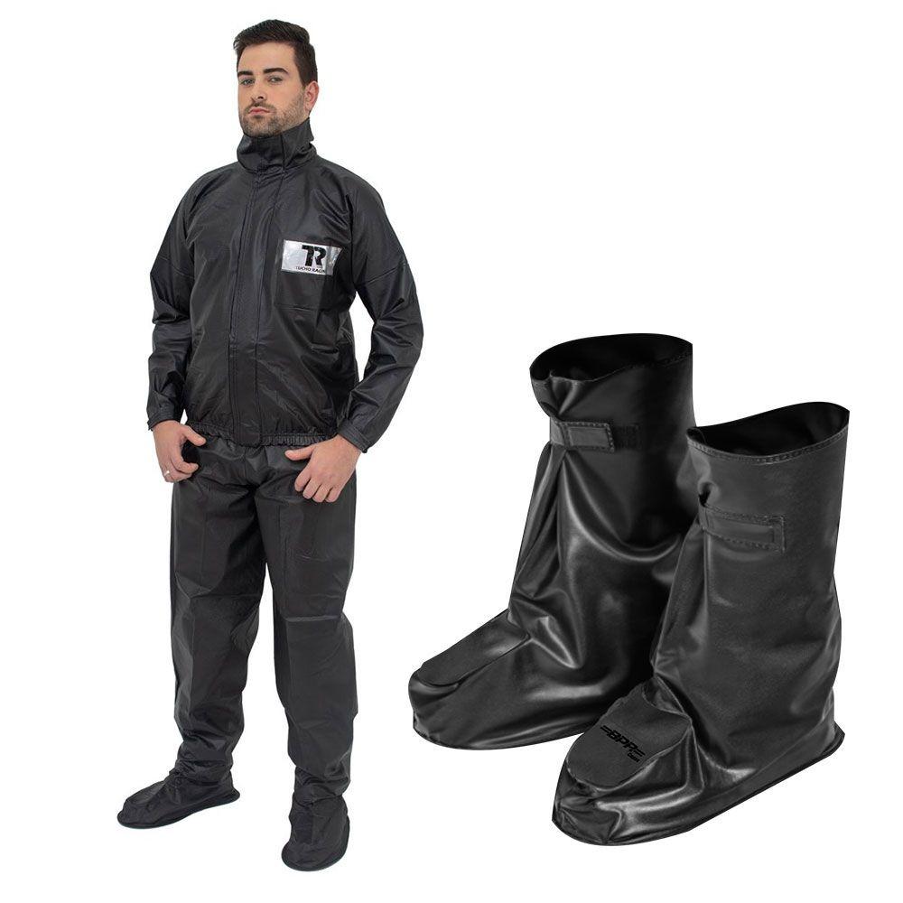 82799ecf143 kit capa chuva de moto masculina gg + galocha impermeável. Carregando zoom.