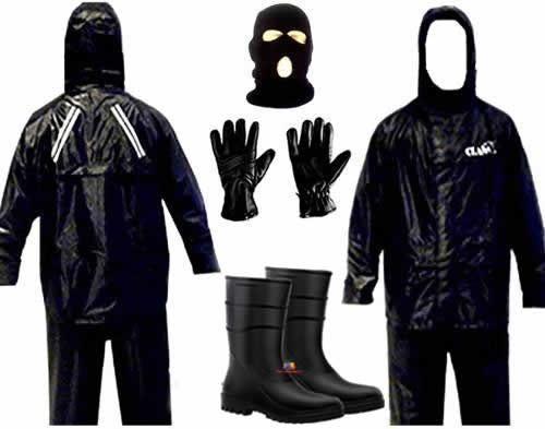 kit capa chuva  luva galocha touca de motoqueiro moto