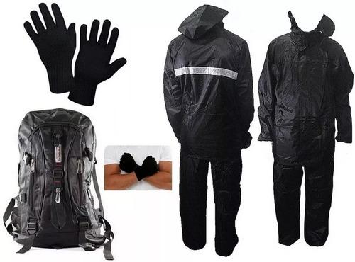 kit capa chuva motoqueiro pvc e poliester luxo com mochila