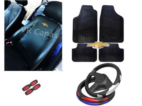 kit capa couro banco carro tapete volante chevrolet + brinde