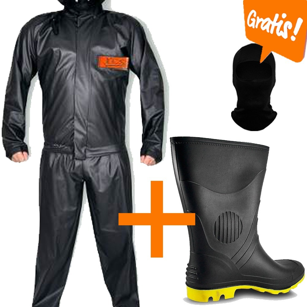 5422bb60698 Kit Capa De Chuva + Bota Grendene + Touca Moto Motoqueiro - R  99